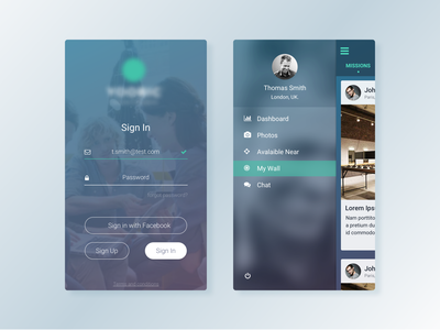 Social App sign in picture profile menu social ui android iphone ios feedback cards app
