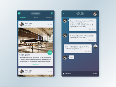 Social App 2 ui social sign in profile picture menu iphone ios feedback cards app android