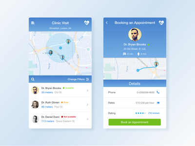 Medical App doctor gradient card filter profile map android iphone app medical ui