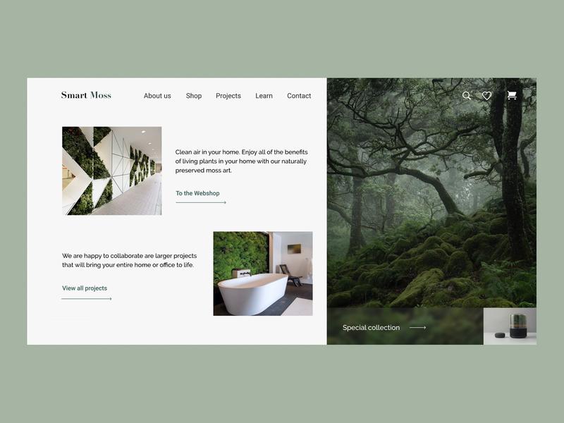Smart Moss - Online Store ecommerce decor green walls plants store homepage design ui  ux website design typography webdesigner uiuxdesigner