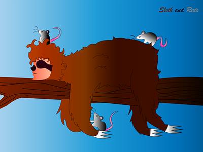 Sloth and rats nature design illustration animals sloth rats