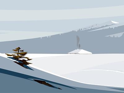 Illustration d'un paysage hivernal pour un site web de JDR