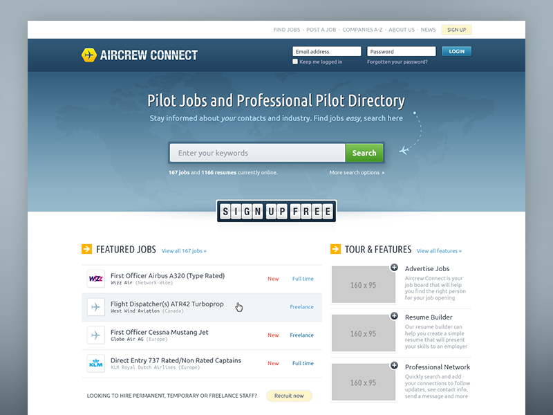 Aviation Recruitment Homepage ui interface jobs aviation web design job board pilot airline aircrew