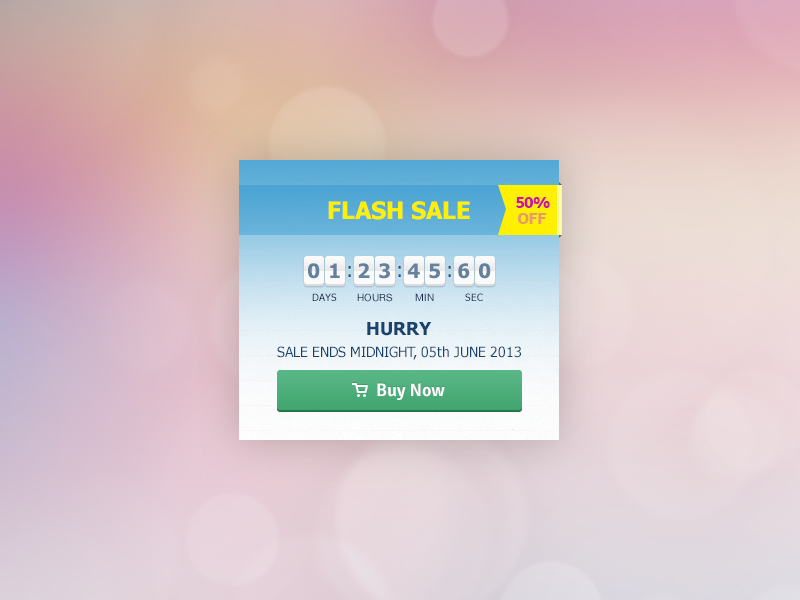 Flash Sale deal countdown timer shopping ecommerce flash sale web design