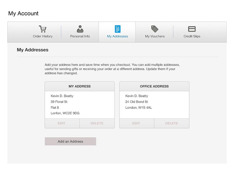 My Addresses Wireframe shopping ecommerce ui account address setup wireframe interface web design edit prestashop preferences