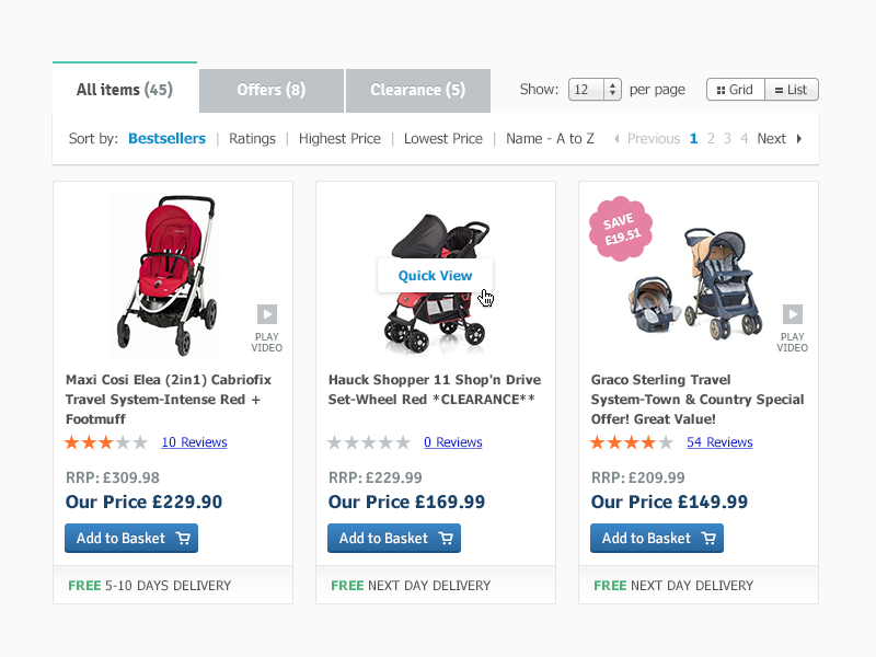 Products shopping retail pushchairs nursery prestashop ui interface products ecommerce web design baby