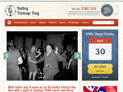 Batley Vintage Day vintage retro event tickets calendar festival web design