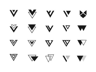 Monogram Exploration identity exploration logo double v letter v monogram