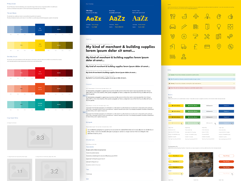 Styleguide colour palette design system ui kit elements buttons iconography icons typography guide styleguide