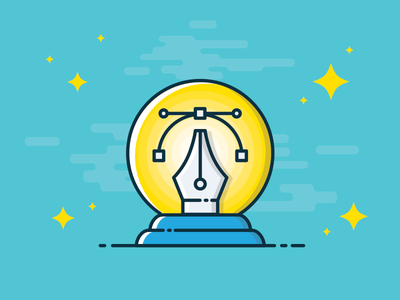 Predictions crystal ball pen tool design trends predictions illustration icon