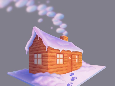 Snowy Cabin snow whimsical procreate photoshop cabin concept art illustration illustrator