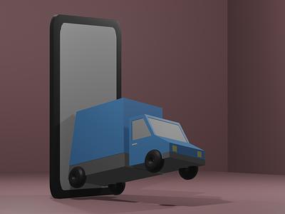 Delivery Service App illustration service app delivery blue truck blender 3d