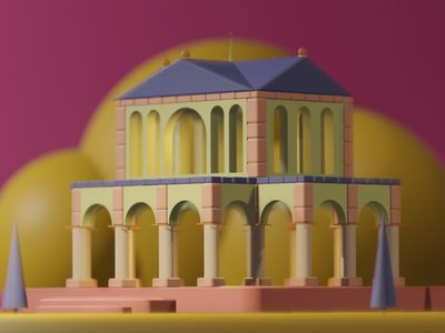 Cute Roman Building arch stone purple yellow pink lowpoly illustration blender 3d