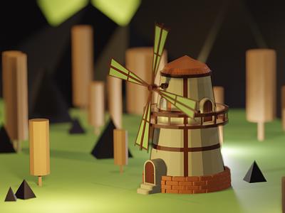 Mysterious Windmill illustration 3d