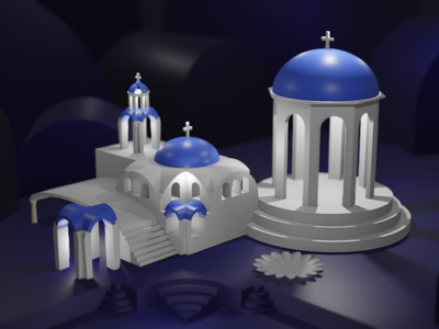 Escher + Greek Architecture blue arch blender illustration 3d