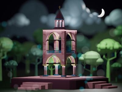 Bell Tower under the moonlight app arch blender illustration 3d