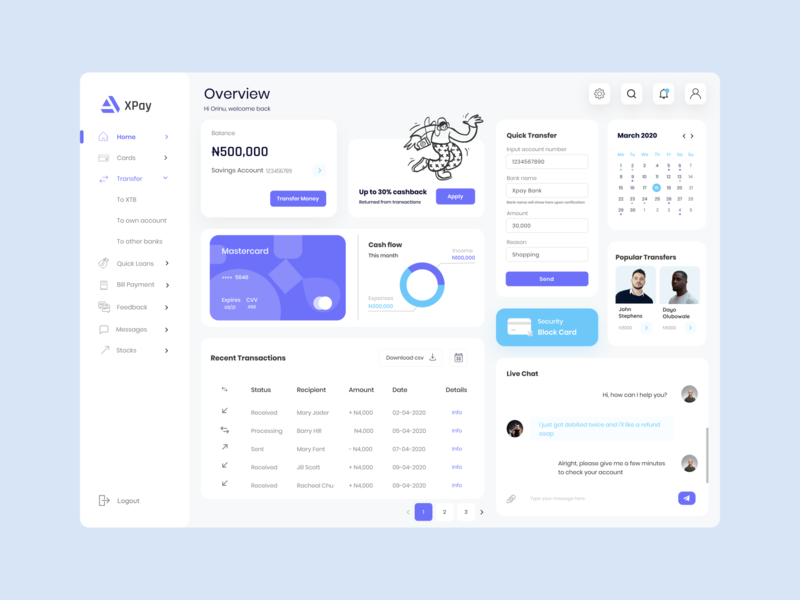 Bank Transaction Dashboard customer care customer support 6dc8f9 6dc8f9 dashboard design dashboard ui transactions push notifications live chat expenses cyan chat bubble chat app blue block blockcard banking banking app bank dashboard block card
