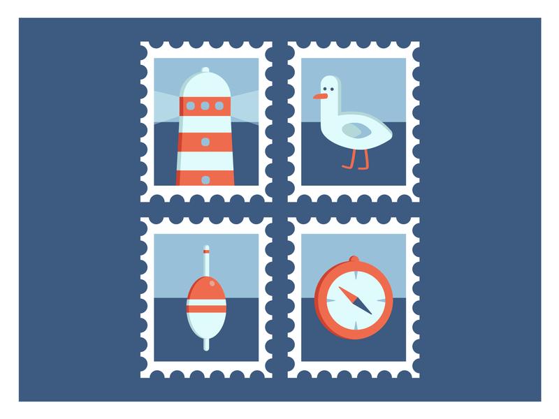 Postage marine stamps 🧭🌊 iconset icons vector illustration adobe illustrator