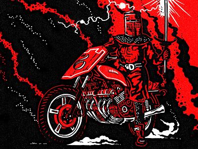 PseudoMoto Rally #6 vintage poster design illustration motorcycle moto