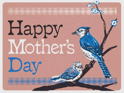 Mama bird lettering typography blue jay birds illustration design card mothers day
