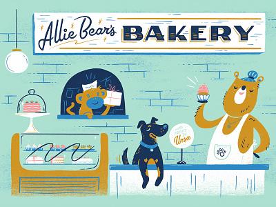 Allie Bear's Bakery Illustration poster anthropomorphic shop bakery dog bear illustration