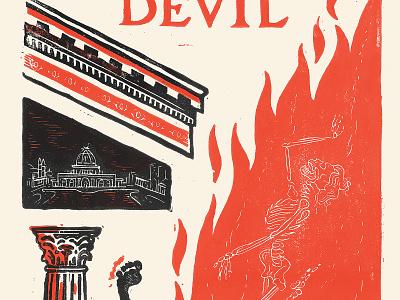 Devil in the White City hh holmes poster print linoleum block print the devil in the white city chicago book illustration design