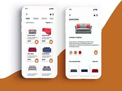 furniture app more screens. ux design ui