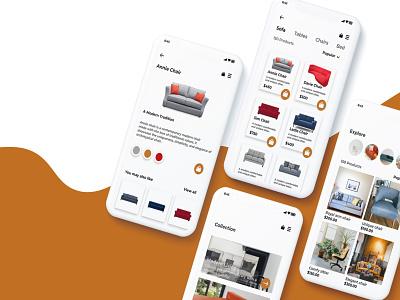 furniture app complete screen. illustration app ux ui design