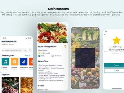 Organic food source branding mobile app mobile typography illustration app ui ux minimal design