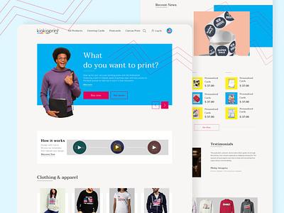 Kiakiaprint Homepage webapp design web typography minimal ui ux design