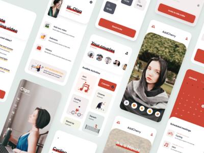 DatingApp AddCherry Red swipe profile tinder app design ui calendar match lovers love event datingapp dating