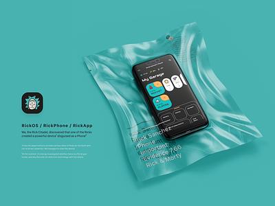 RickOS / RickPhone / RickApp from Rick & Morty branding logo space future interface tipography ux blackandwhite night mobile cartoon rickandmorty rick and morty design app ui