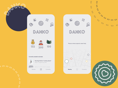 Danko - Volunteer and Charity App icons mobile design social covid19 pandemic network local map ux ui design graphic lineal line art mobile app statistics volunteer help charity