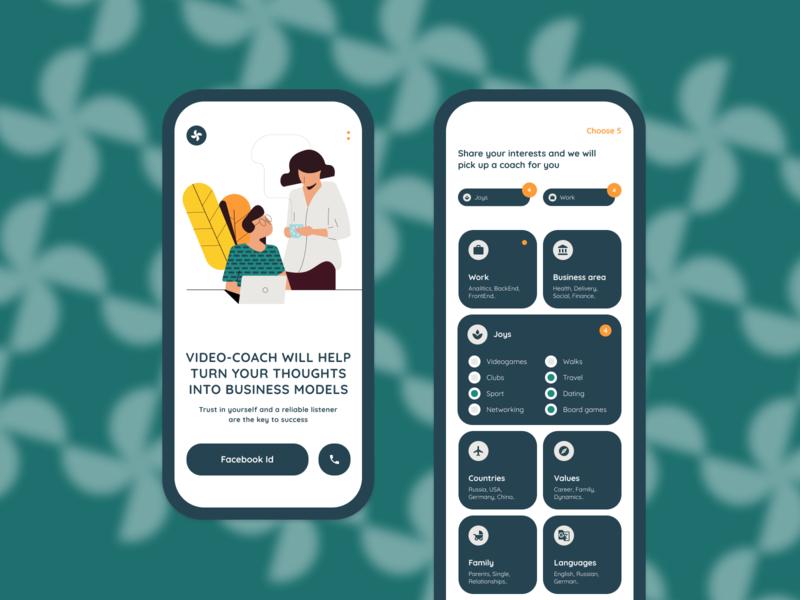 Video-coach app – Psychologists for businessmen settings illustraion mobile app mobile design ux ui onboarding interests menu businessman business coach mentor mental health psychologist