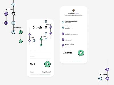 GitHub: Sign in visualization teamwork product design daily ui dailyui sign up sign in form design tools platform ai ml cloud developer tools developer dev mobile ui github git branch