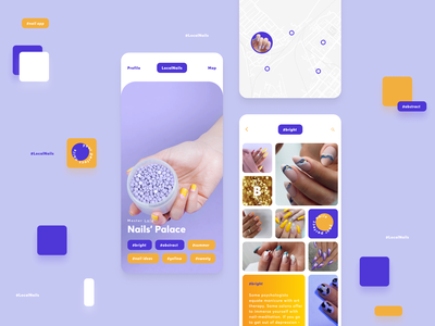 LocalNails: Tape with pictures, swipe tape with tags, map dating instagram bright recommendation branding icon pack dailyui concept mobile app uxui map swipe tags nails photos tape pictures salon beauty pinterst