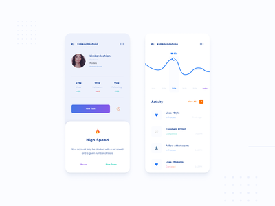 Pop Up & History + Analytics: automatic follow, likes, comments comment tiktok activity history clean blogger gradient uiux dailyui popup likes following social media design social network chart analytics instagram