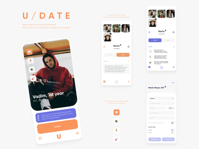 Dating for Students 🎓 Swipe, Profile, Chat dailyui clean match feature students social network message chat modes dating swipe profile settings minimal ux ui
