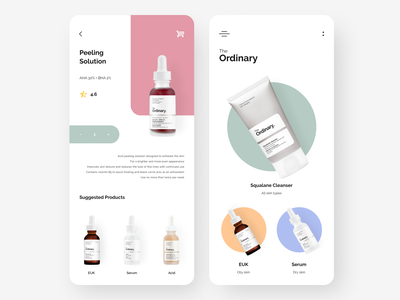 The Ordinary: skin care products App cosmetics product design figma ux dailyui mobile app mobile ui creative feed shop marketplace skincare fashion minimal concept clean branding beauty