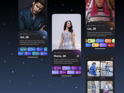 Dating App with interests for straight & lgbtq+ 🏳️🌈 swipe gradients dark theme mobile app lgbtq lgbt gender neutral uxui tinder chips interests photoshop social network love dating music profile filter feed