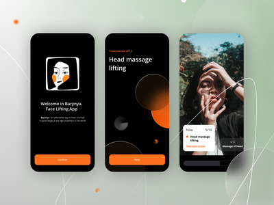 Face Lifting App 💆♀️ beauty black dark theme education courses massage fitness app face exercise app lifting switch launch screen onboarding video face logo logo sport ui mobile app