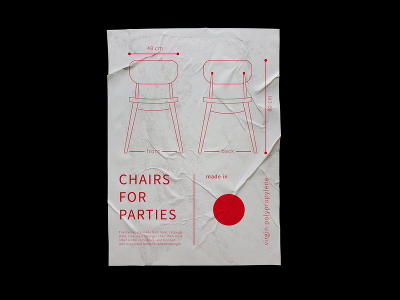 Chairs for parties poster art poster design poster