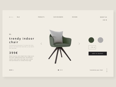 Trendy indoor chair webdesign web chair product page uidesign ui