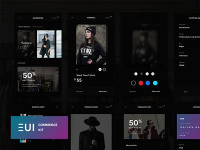 EUI Free Commerce PSD gumroad freebie free psd ui kit app shop commerce