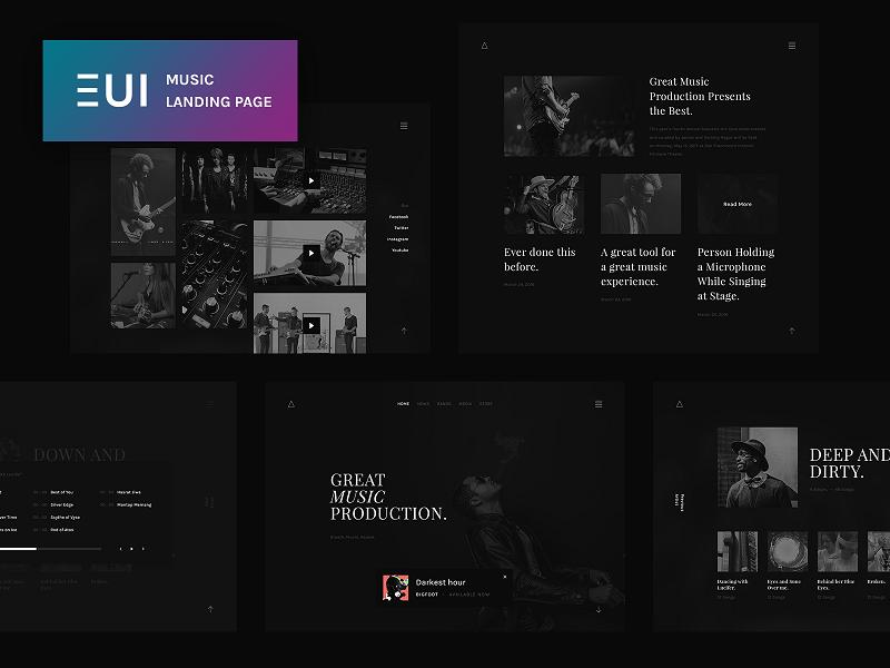 EUI Free Music Landing Page PSD