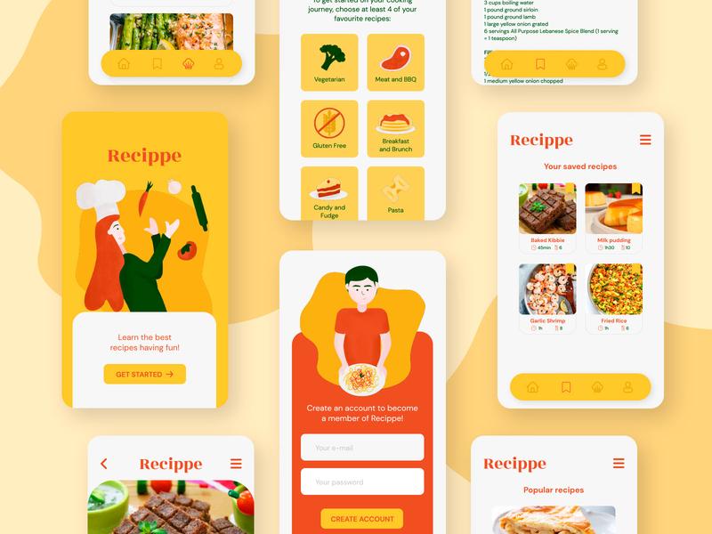 Study: Recippe App ui design illustration design app design app interface mobile design ui