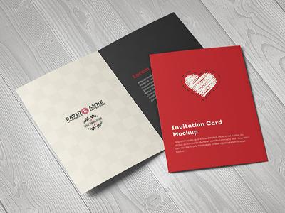 Invitation / Greeting Card / A5 Brochure Mockup wedding print mockup invite invitation greeting card greeting fold card brochure birthday bifold