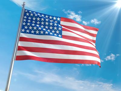 Flag Mockup 3d realistic sun wind branding label logo freedom usa mockup flag