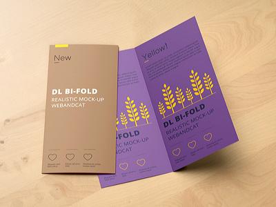 DL Bi-Fold Brochure Mockup mock-up logo gold glossy folded foil flyer dl bifold dl brochure mockup brochure bifold