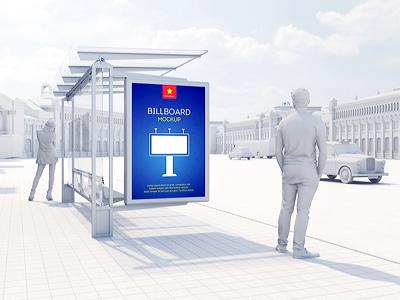 Billboard Poster Mockup poster outdoor identity flyer display city ad branding billboard mock-up banner advertising adv